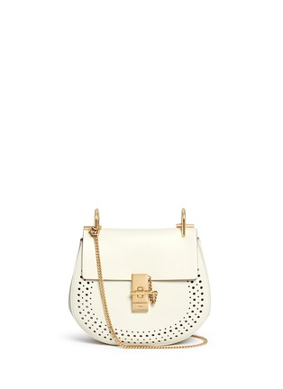 Main View - Click To Enlarge - Chloé - 'Drew' small perforated leather shoulder bag