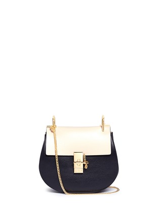 Main View - Click To Enlarge - Chloé - 'Drew' small colourblock leather shoulder bag