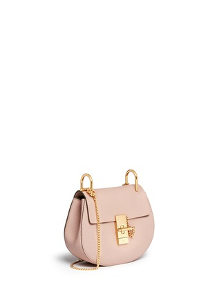Front View - Click To Enlarge - Chloé - 'Drew' mini grainy leather shoulder bag