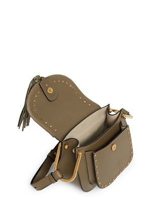 Detail View - Click To Enlarge - CHLOÉ - 'Hudson' mini rivet folded trim leather saddle bag