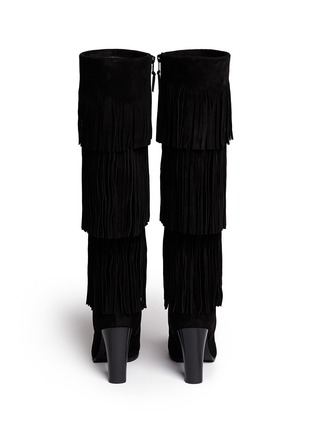 Back View - Click To Enlarge - Stuart Weitzman - 'Fringie' knee high fringe suede boots