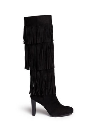 Main View - Click To Enlarge - Stuart Weitzman - 'Fringie' knee high fringe suede boots