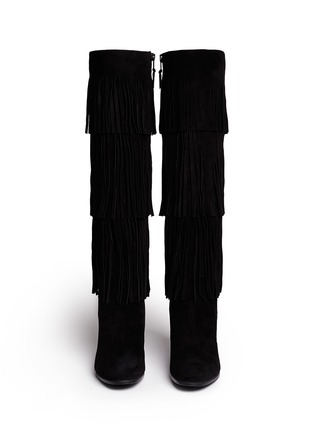 Figure View - Click To Enlarge - Stuart Weitzman - 'Fringie' knee high fringe suede boots