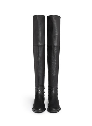 Figure View - Click To Enlarge - Stuart Weitzman - 'Lowland' stretch leather thigh high boots