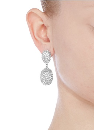 Figure View - Click To Enlarge - Kenneth Jay Lane - Crystal pavé oval drop clip earrings