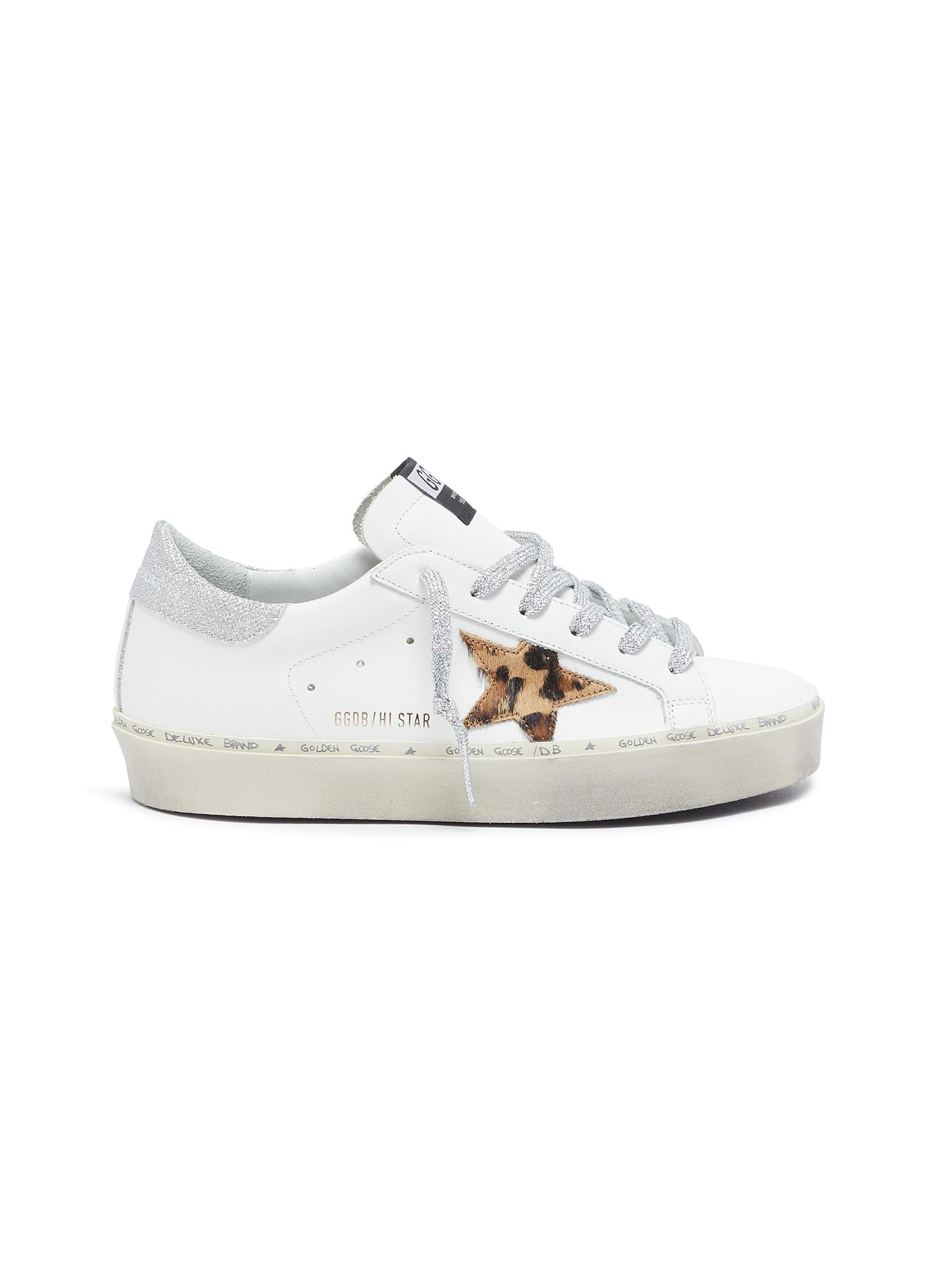 Golden Goose Sneakers Hi Star leopard star patch glitter tab leather sneakers