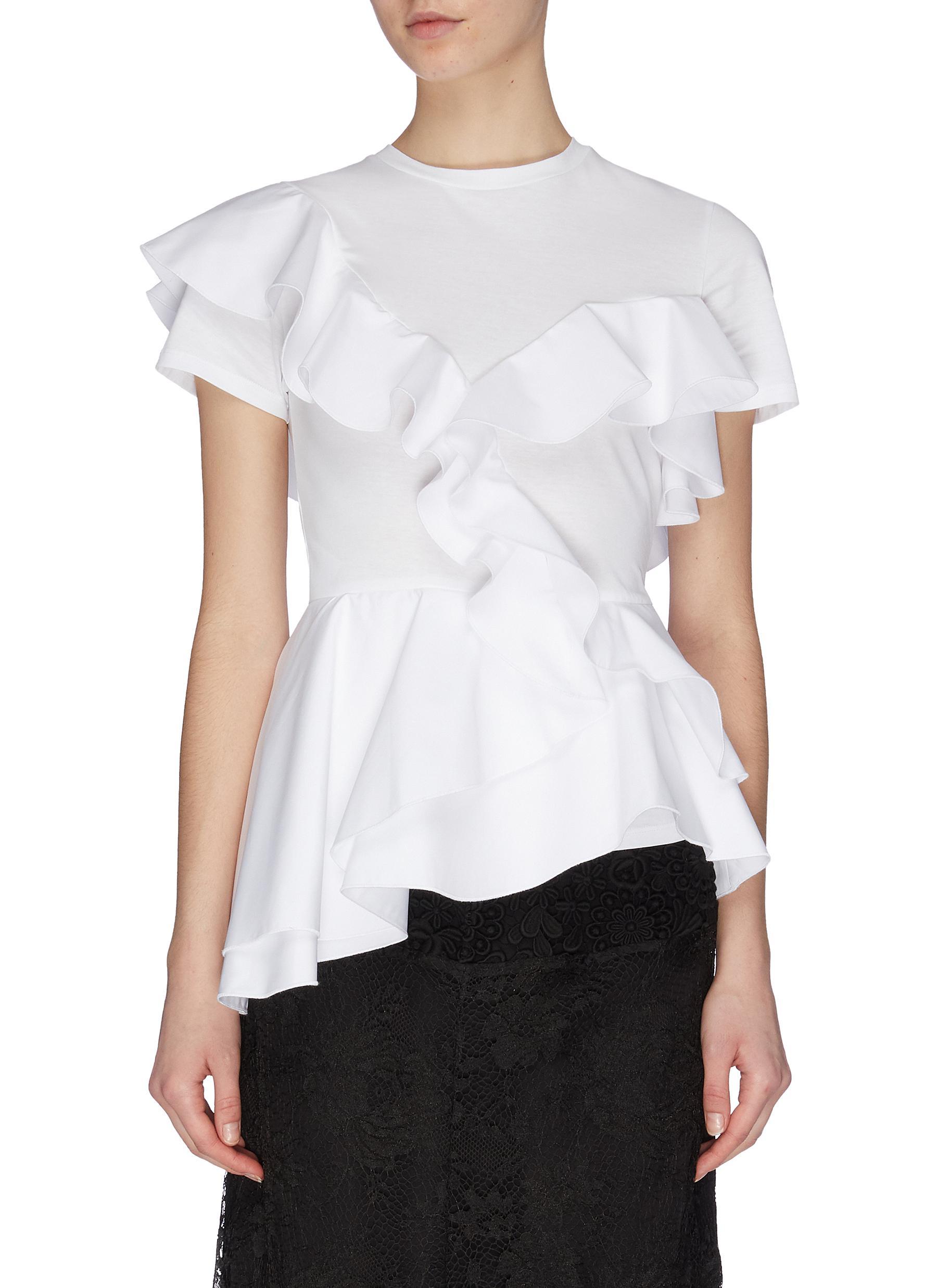 shop Alexander Mcqueen Ruffled asymmetric T-shirt online