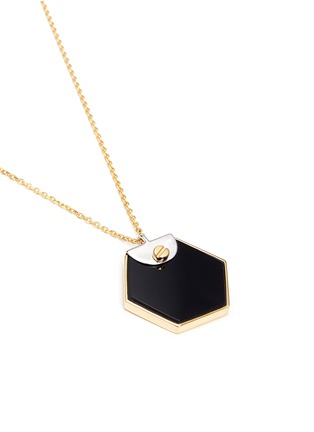 Detail View - Click To Enlarge - W.Britt - 'Hexagon' 18k gold onyx pendant necklace