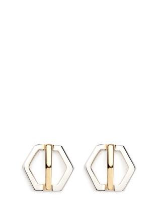 Main View - Click To Enlarge - W.Britt - 'Cross Hexagon' 18k yellow gold stud earrings