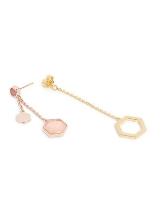 Detail View - Click To Enlarge - W.Britt - 'Hexagon Dangling' rhodonite stud rose quartz drop earrings