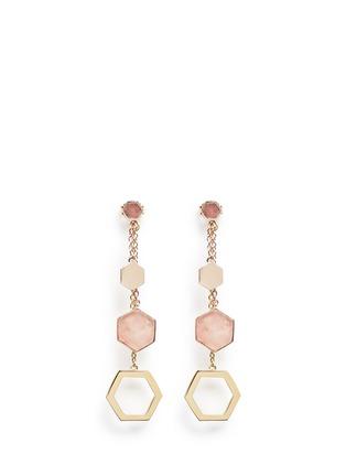 Main View - Click To Enlarge - W.Britt - 'Hexagon Dangling' rhodonite stud rose quartz drop earrings