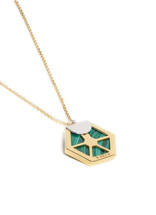 Detail View - Click To Enlarge - W.Britt - 'Hexagon' malachite pendant necklace
