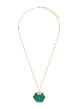 Main View - Click To Enlarge - W.Britt - 'Hexagon' malachite pendant necklace