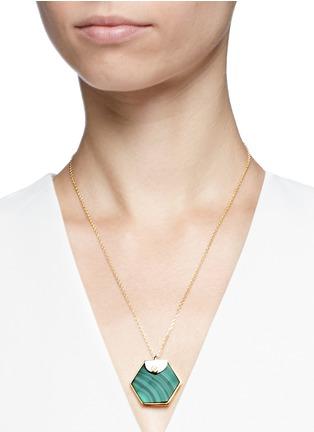 Figure View - Click To Enlarge - W.Britt - 'Hexagon' malachite pendant necklace