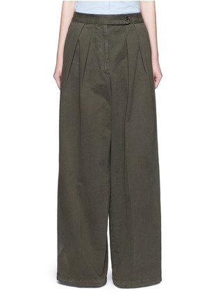 Main View - Click To Enlarge - Dries Van Noten - 'Pamplona' pleat brushed twill wide leg pants