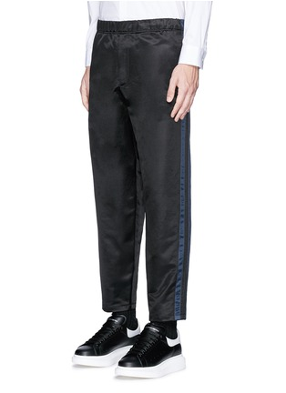 Front View - Click To Enlarge - Alexander McQueen - Side stripe satin cropped jogging pants