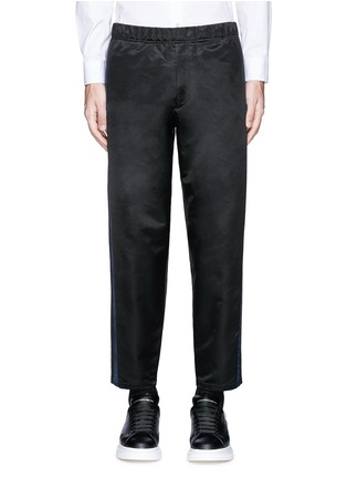 Main View - Click To Enlarge - ALEXANDER MCQUEEN - Side stripe satin cropped jogging pants