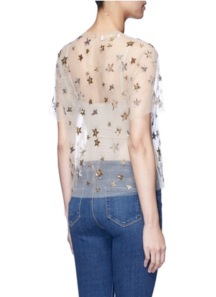 Back View - Click To Enlarge - Valentino - Embellished metallic star tulle top