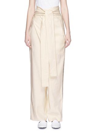Main View - Click To Enlarge - ERIKA CAVALLINI - 'Asami' cotton-linen wrap pants