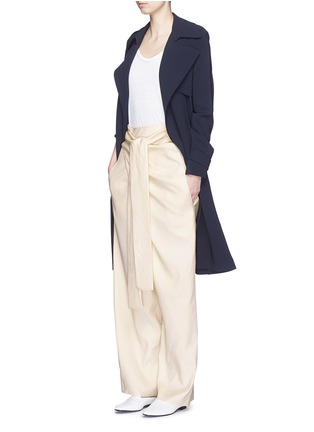 Figure View - Click To Enlarge - ERIKA CAVALLINI - 'Asami' cotton-linen wrap pants