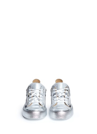 Front View - Click To Enlarge - Giuseppe Zanotti Design - 'May London' metallic leather slip-on sneakers