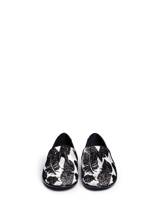 Front View - Click To Enlarge - Giuseppe Zanotti Design - 'Kevin' leaf velvet flock leather slip-ons