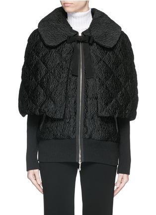 Main View - Click To Enlarge - MONCLER - 'Avery' detachable cape floral jacquard down jacket