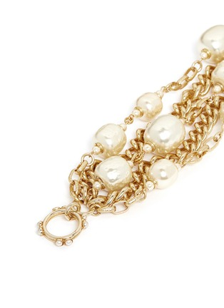 Detail View - Click To Enlarge - Miriam Haskell - Multi strand baroque glass pearl chain bracelet