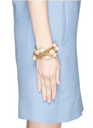 Figure View - Click To Enlarge - Miriam Haskell - Multi strand baroque glass pearl chain bracelet