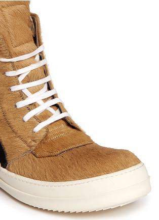 Detail View - Click To Enlarge - RICK OWENS - Geobasket ponyhair high-top sneakers