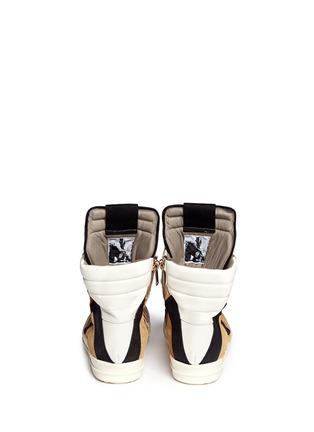 Back View - Click To Enlarge - RICK OWENS - Geobasket ponyhair high-top sneakers