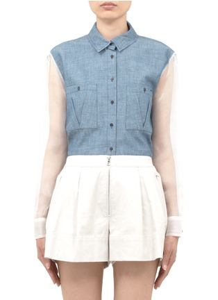 Main View - Click To Enlarge - Elizabeth and James - Sheer-back denim shirt