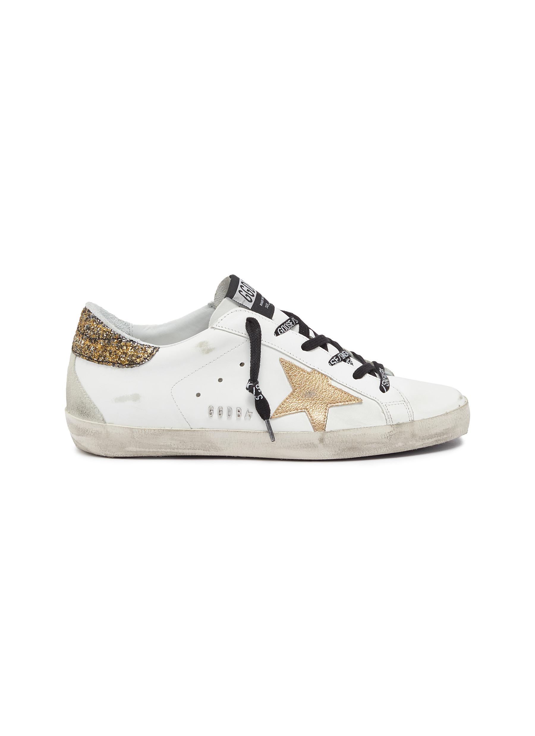 Golden Goose Sneakers Superstar glitter tab slogan lace leather sneakers