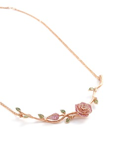 Anyallerie 'Rose Blossom' diamond gemstone 18k rose gold necklace