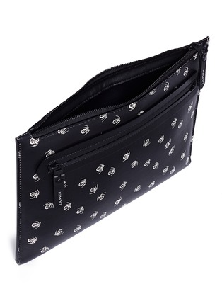 Detail View - Click To Enlarge - Lanvin - 'Pool Spider' print medium leather zip pouch