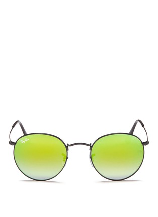 Main View - Click To Enlarge - Ray-Ban - 'Round Flash Lenses Gradient' metal sunglasses