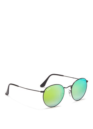Figure View - Click To Enlarge - RAY-BAN - 'Round Flash Lenses Gradient' metal sunglasses