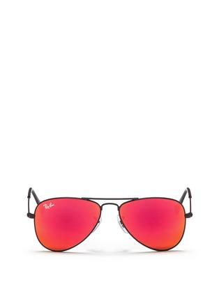 Main View - Click To Enlarge - Ray-Ban - Aviator Junior' metal mirror sunglasses
