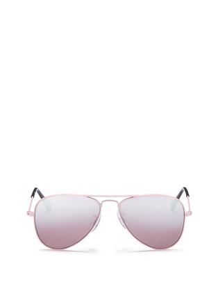 Main View - Click To Enlarge - Ray-Ban - 'Aviator Junior' metal mirror sunglasses
