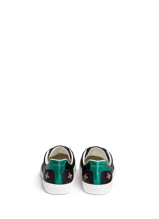 Back View - Click To Enlarge - Gucci - Bee and star embroidery leather sneakers