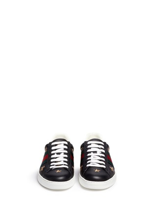 Front View - Click To Enlarge - Gucci - Bee and star embroidery leather sneakers