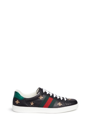 Main View - Click To Enlarge - Gucci - Bee and star embroidery leather sneakers
