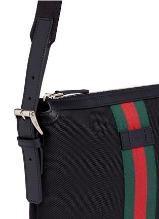 Detail View - Click To Enlarge - GUCCI - Stripe trim crossbody messenger bag