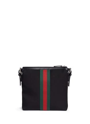 Back View - Click To Enlarge - GUCCI - Stripe trim crossbody messenger bag