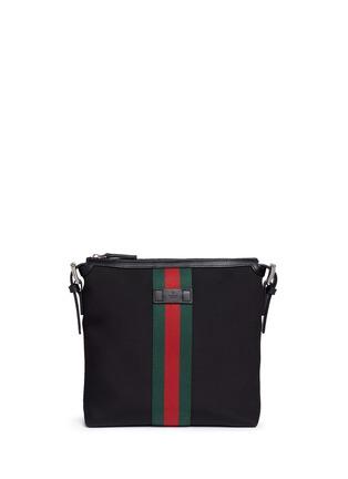 Main View - Click To Enlarge - GUCCI - Stripe trim crossbody messenger bag