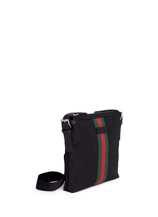 Figure View - Click To Enlarge - GUCCI - Stripe trim crossbody messenger bag