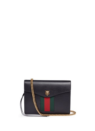 Main View - Click To Enlarge - Gucci - 'Animalier' tiger head web leather shoulder bag
