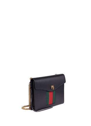 Figure View - Click To Enlarge - Gucci - 'Animalier' tiger head web leather shoulder bag
