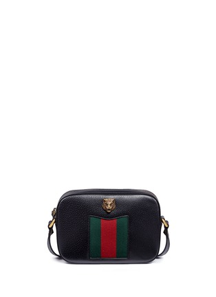 Main View - Click To Enlarge - Gucci - 'Animalier' tiger head web leather crossbody bag