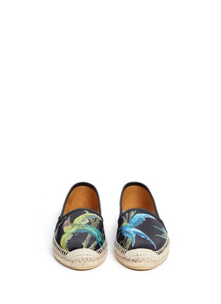 Front View - Click To Enlarge - Gucci - 'Shanghai Tropical' floral print leather espadrilles